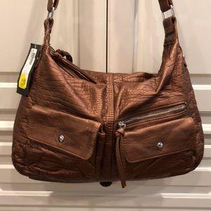 NWT BUENO faux copper handbag